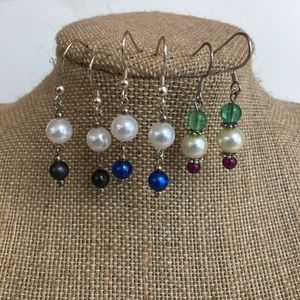 Set of 3 Pearl Dangle Earrings